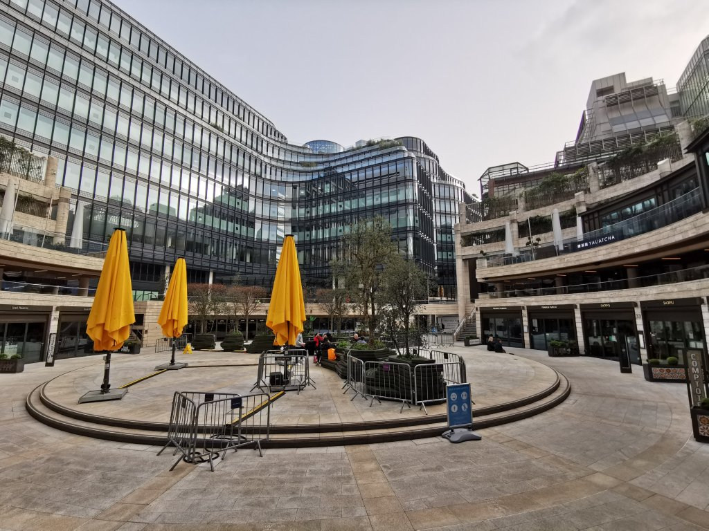 Broadgate circus under which the Walbrook River would have run