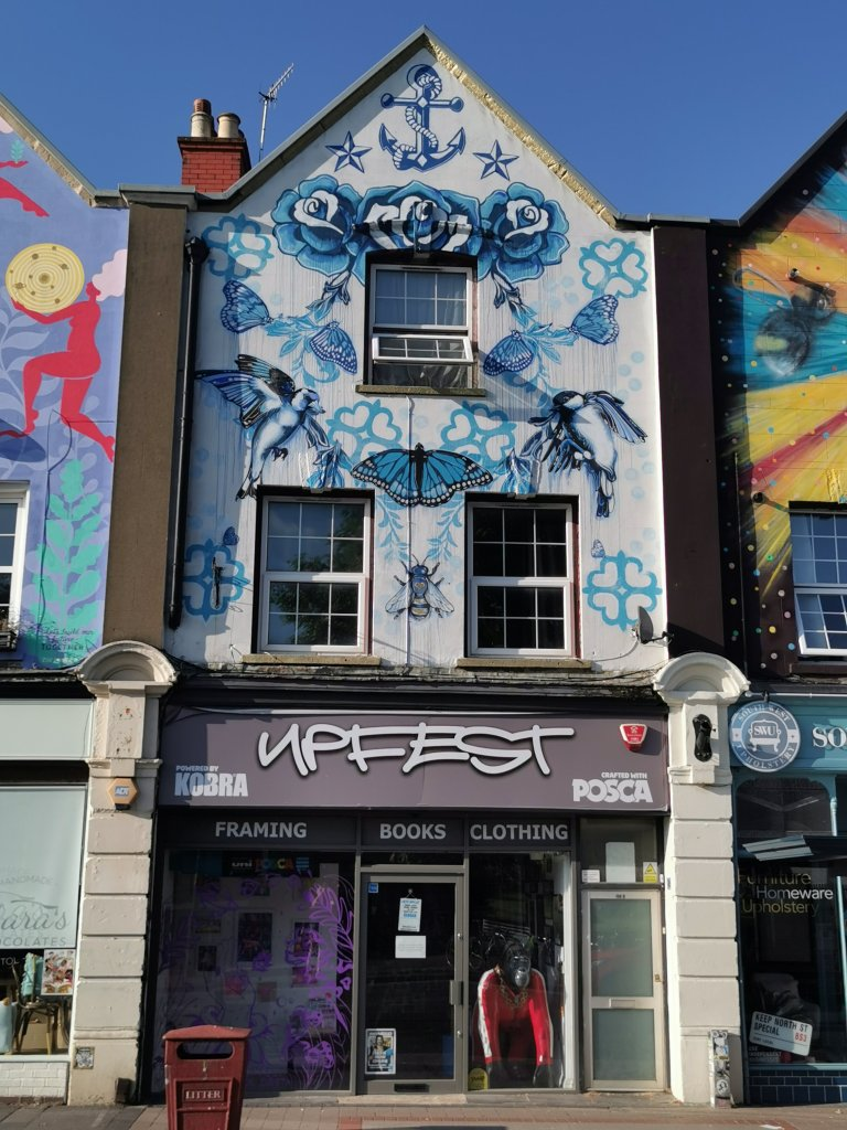 Street art by Gemma Compton one of the six sisters murals in Bristol
