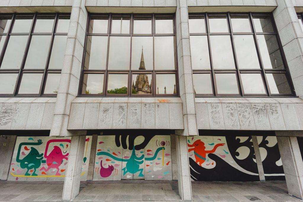 Street art in Aberdeen from KMG on St Nicolas Gardens Rooftops