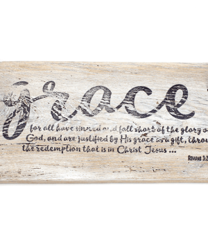 """salvaged wood sculpture with the word """"Grace"""" and a Bible verse imprinted on it"""