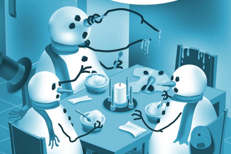 Snowman family at dinner