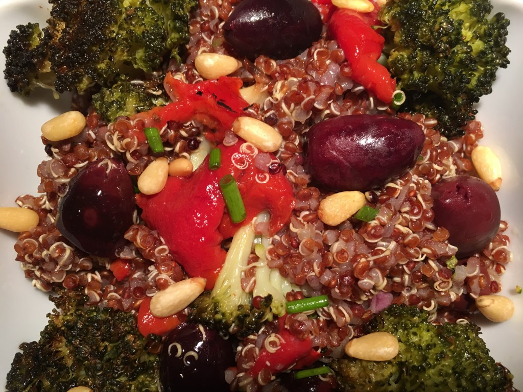 Mediterranean Quinoa with Kalamata Olives and Roasted Broccoli