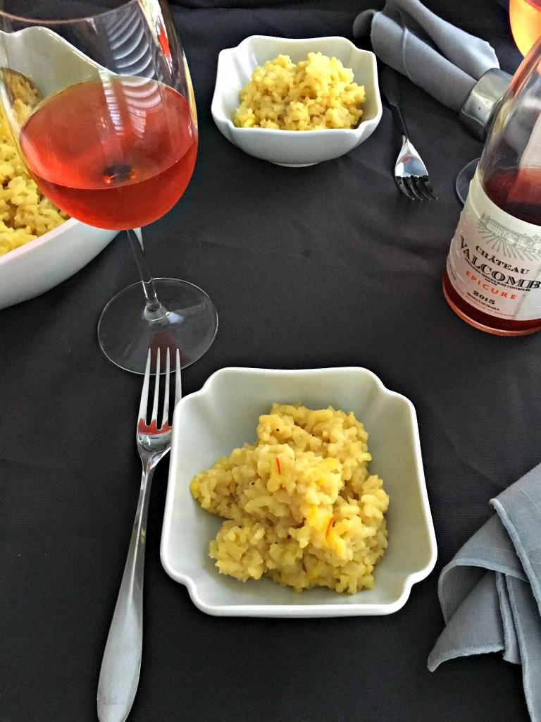 Rumi Spice Saffron Risotto table setting rose
