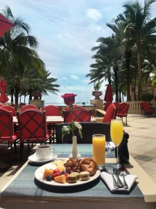 breakfast on the patio at Acqualina