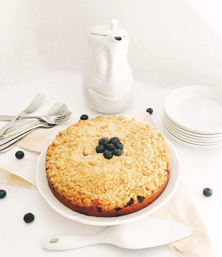 Blueberry Crumb Coffee Cake with Cinnamon Streusel