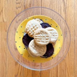 peanut butter chocolate cookies on platter