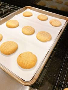peanut butter chocolate cookies on tray