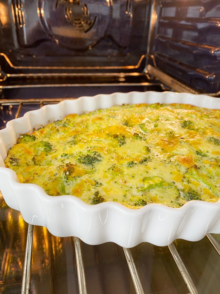 crustless quiche in oven