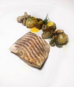 grilled pike with butternut squash