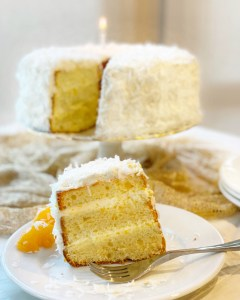coconut cake with slice