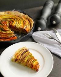 side slice of vegetable tart