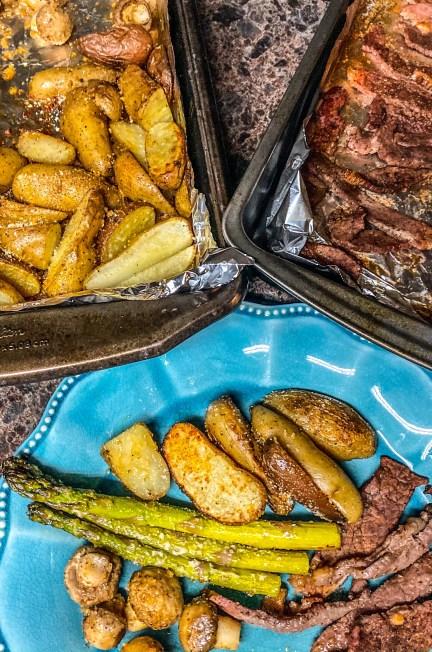 Easy Oven Baked Parmesan Steak and Veggie Sheet Pan Dinner