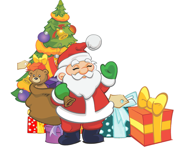 Christmas tree and santa clause PNG images