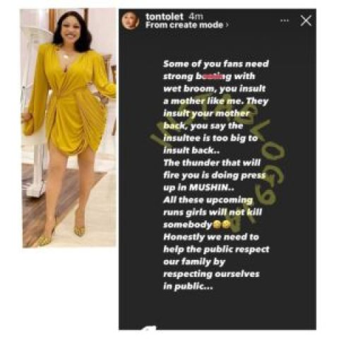 Actress Tonto Dikeh blasts those who always say she shouldn't respond to online insults
