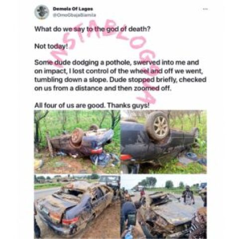 Writer Gbajabiamila, three others survive a ghastly acc*dent despite being abandoned by the culprit. [Swipe]