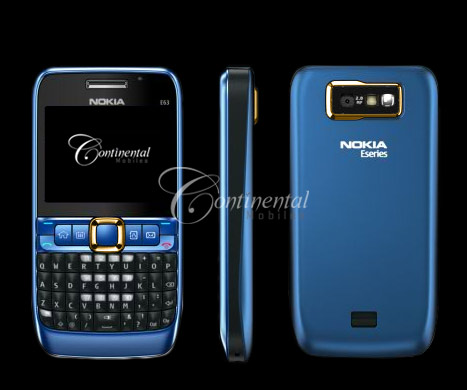 24k gold nokia e63 blue luxury mobile phone 7uupS