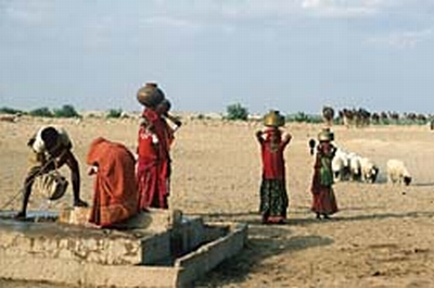 women collecting water from well in rajasthan 9