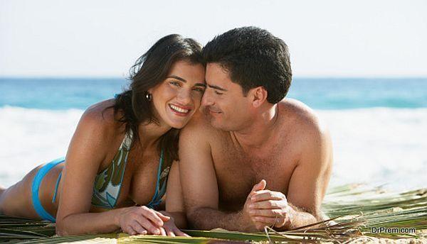 couple enjoying on beach