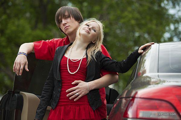 teenage couple outing