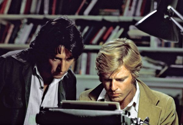 "In this file photo provided by Warner Bros., actors Robert Redford, right, and Dustin Hoffman appear in their roles as reporters Bob Woodward and Carl Bernstein, respectively, in the 1976 film ""All the President's Men."" Personal details about the film and Watergate enliven a Discovery network documentary, ""All the President's Men Revisited"" which airs Sunday at 8 p.m. ET. (AP Photo/Warner Bros., file)"