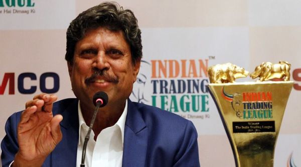 Former cricket captain  of India, Kapil Dev at the launch event of Indian Trading League, by SAMCO Securities at Taj Mahal Hotel Mumbai. Express Photo by Amit Chakravarty. 07.05.2015. Mumbai.
