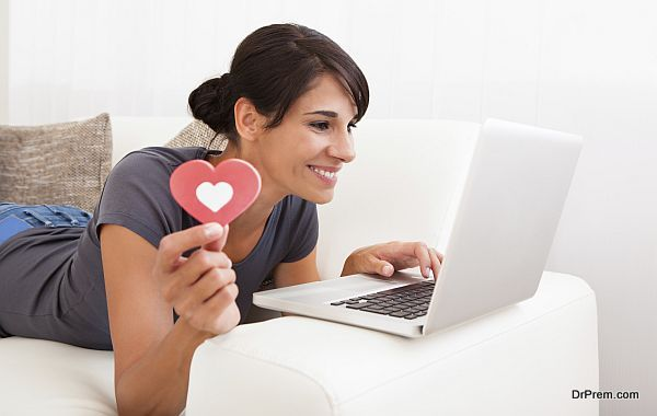 Woman With Heart Shape And Laptop
