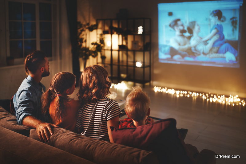 Family Watching Holiday Movie