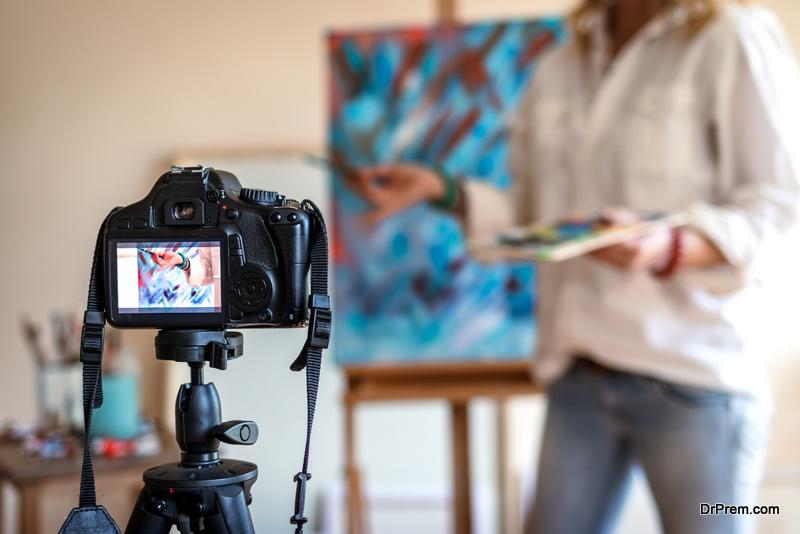 Creative woman vlogging