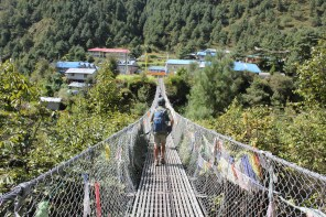 One of the many suspension foot bridges to be crossed during the hike