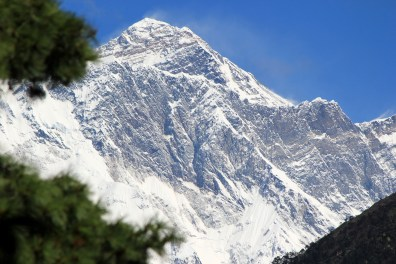 First view of Mt Everest from a rest stop along the climb.