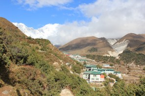 First sighting of Pangboche village on a very exhausting day. Our hotel was still a big climb away all the way to the top of the village.
