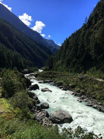 Doodh Koshi river flowing with a roar