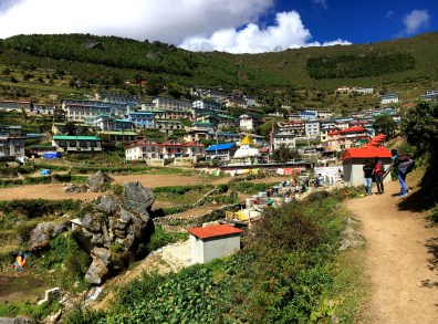 First glimpses of Namche bring a huge relief to trekkers exhausted from the relentless climb.