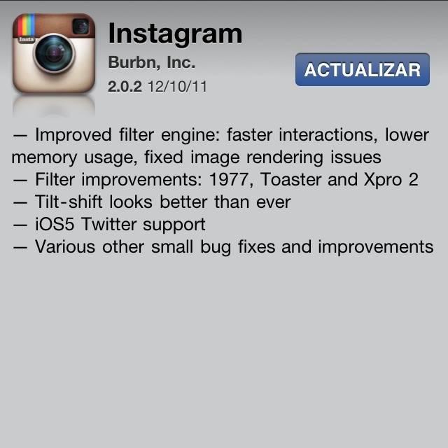 New Instagram app release 2.0.2