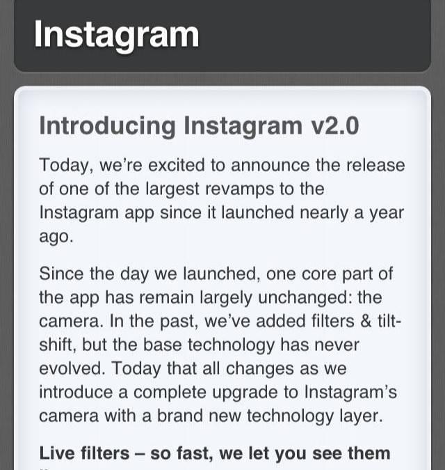 Instagram 2.0. La actualización que no esperábamos.