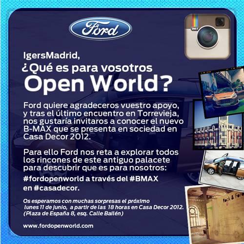 Ford presenta su nuevo modelo B-Max a los Instagramers de Madrid en Casa Decor