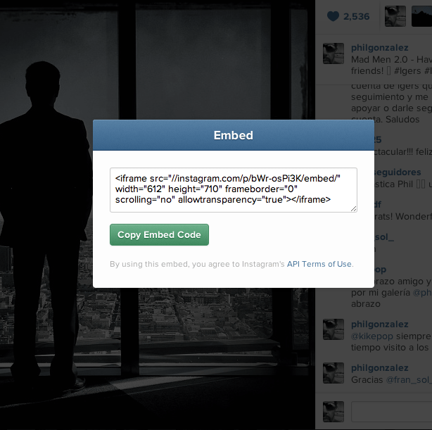 How to Embed your Instagram on your Webs and Blogs