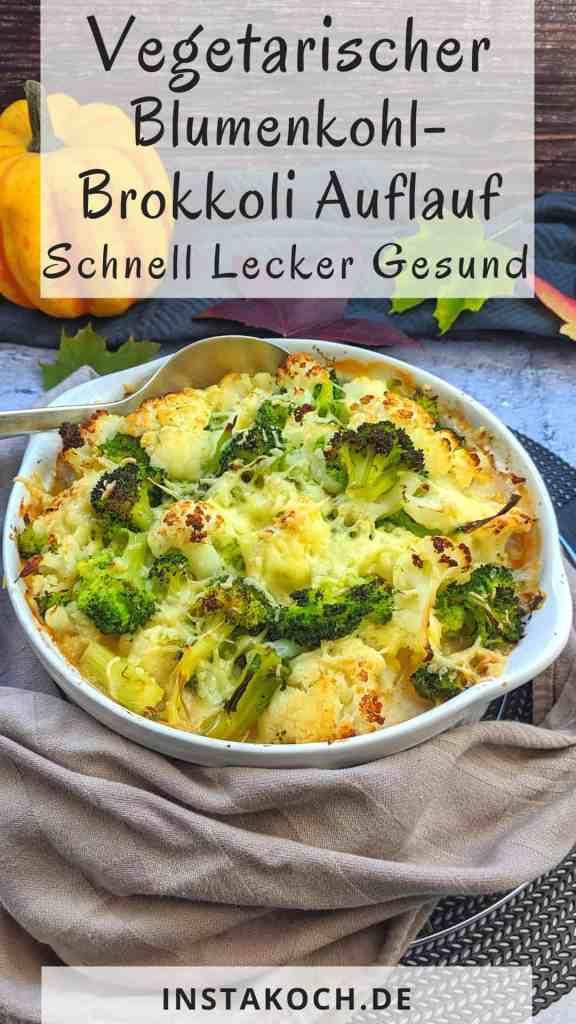 Vegetarischer Blumenkohl-Brokkoli Auflauf mit Kartoffeln und Lauch. Im Hintergrund Deko.
