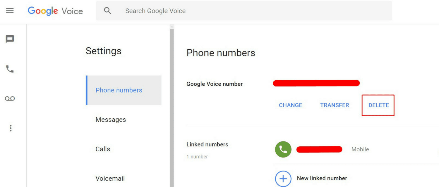 How to delete fast Google voice number