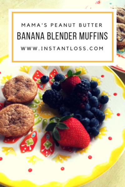www.instantloss.com Mama's Peanut Butter Banana Blender Muffins