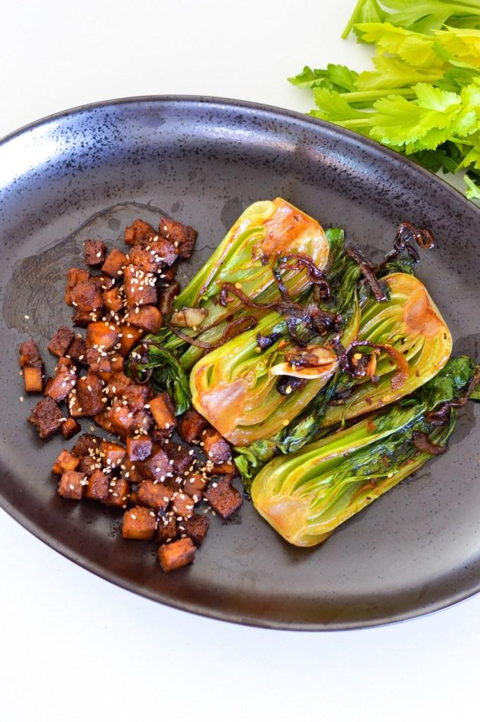 Pan Fried Sesame Garlic Bok Choy and Tofu for 1 instantloss.com