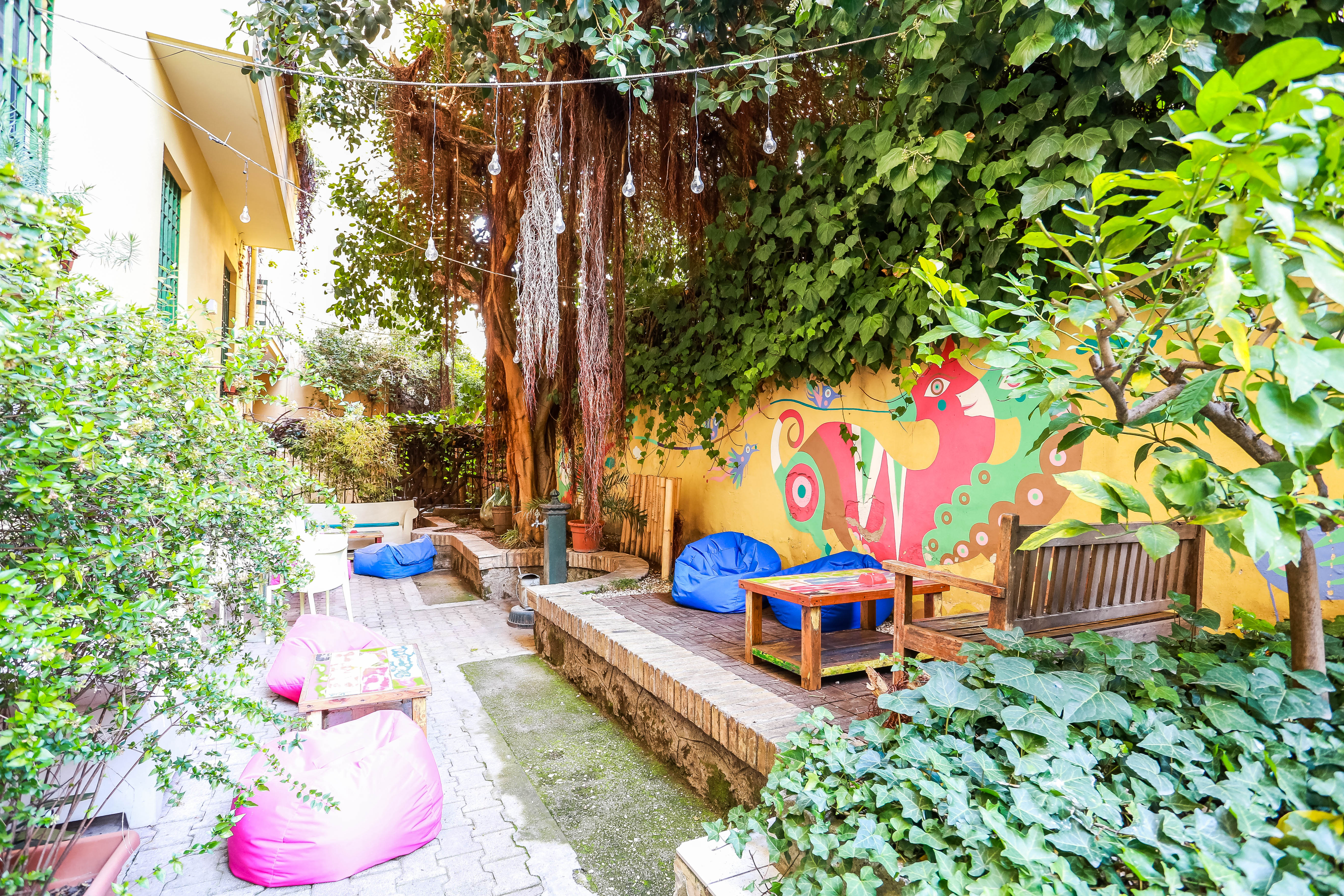 The garden of the Beehive Hostel in Rome