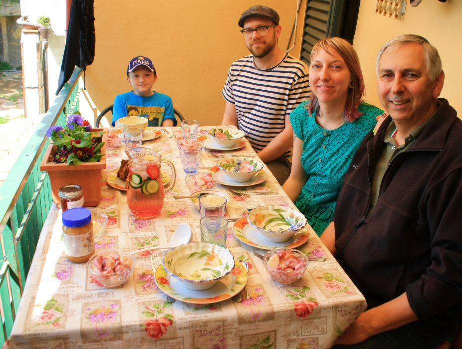 Paul Spadoni's family eating outside in Montecarlo, Tuscany