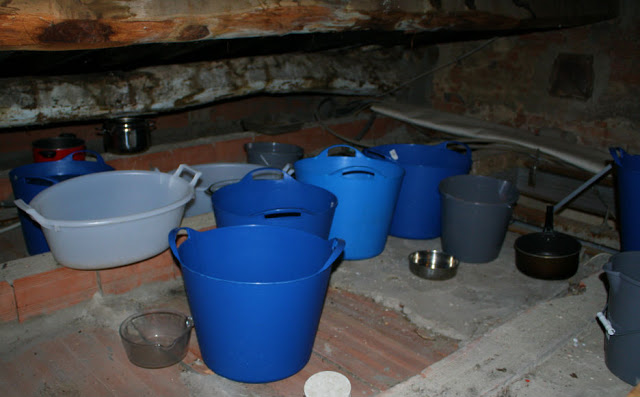 Buckets in the attic of Paul Spadoni's house in Montecarlo, Tuscany