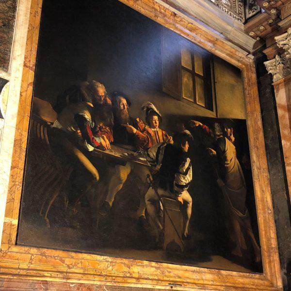 A Caravaggio fresco inside the church of San Luigi dei Francesi