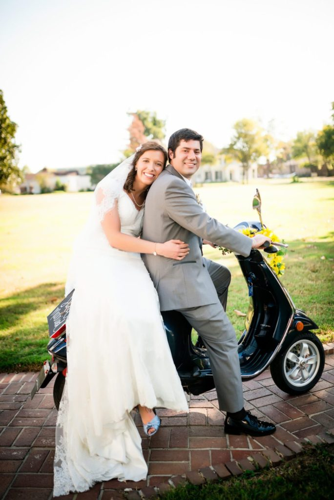 This is a photo of bride and groom on a Vespa