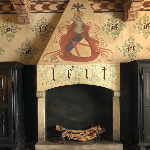 A fireplace in Castello della Manta
