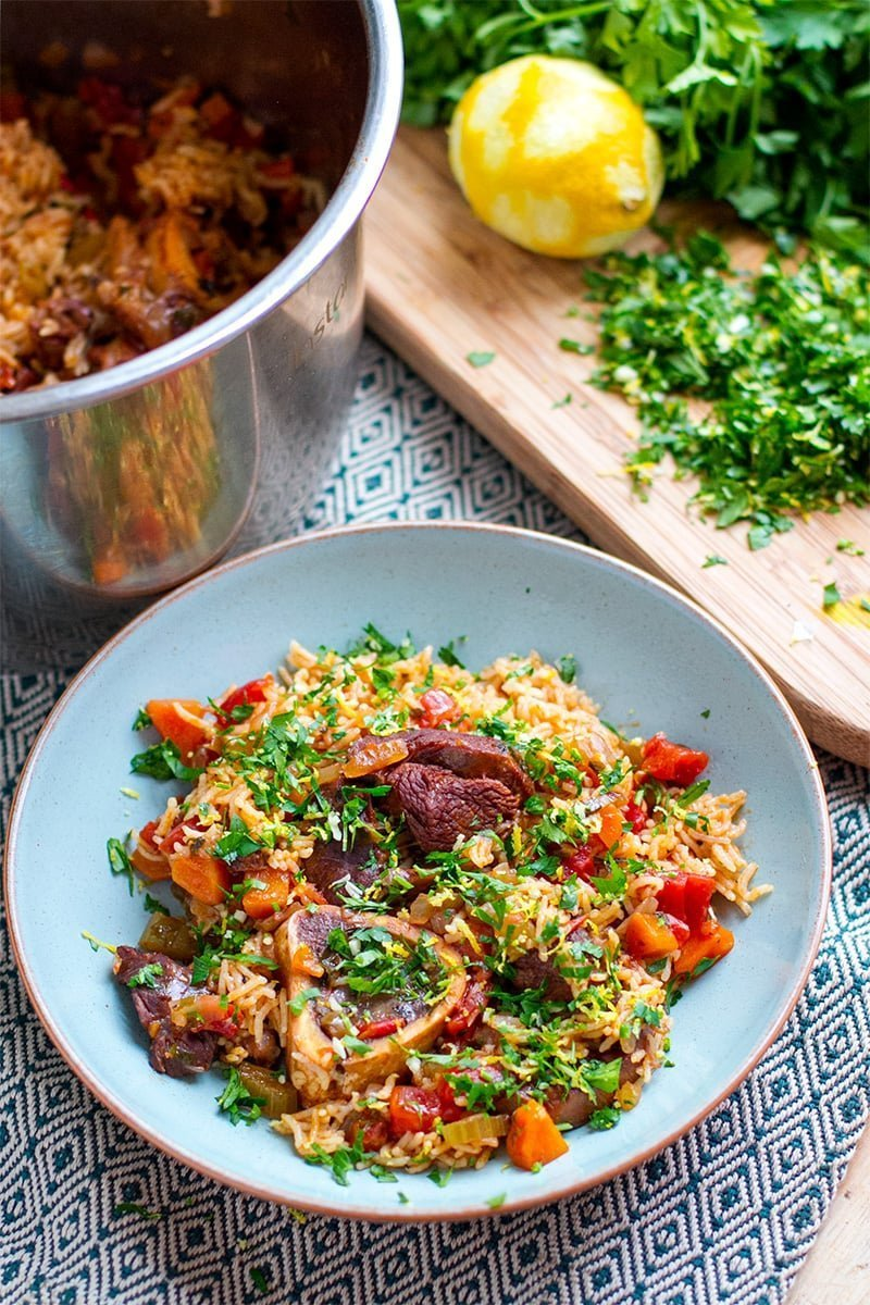 Instant Pot Osso Buco Rice (Italian Recipe Using Veal Shanks, Rice, Tomatoes, and Herby Gremolata)