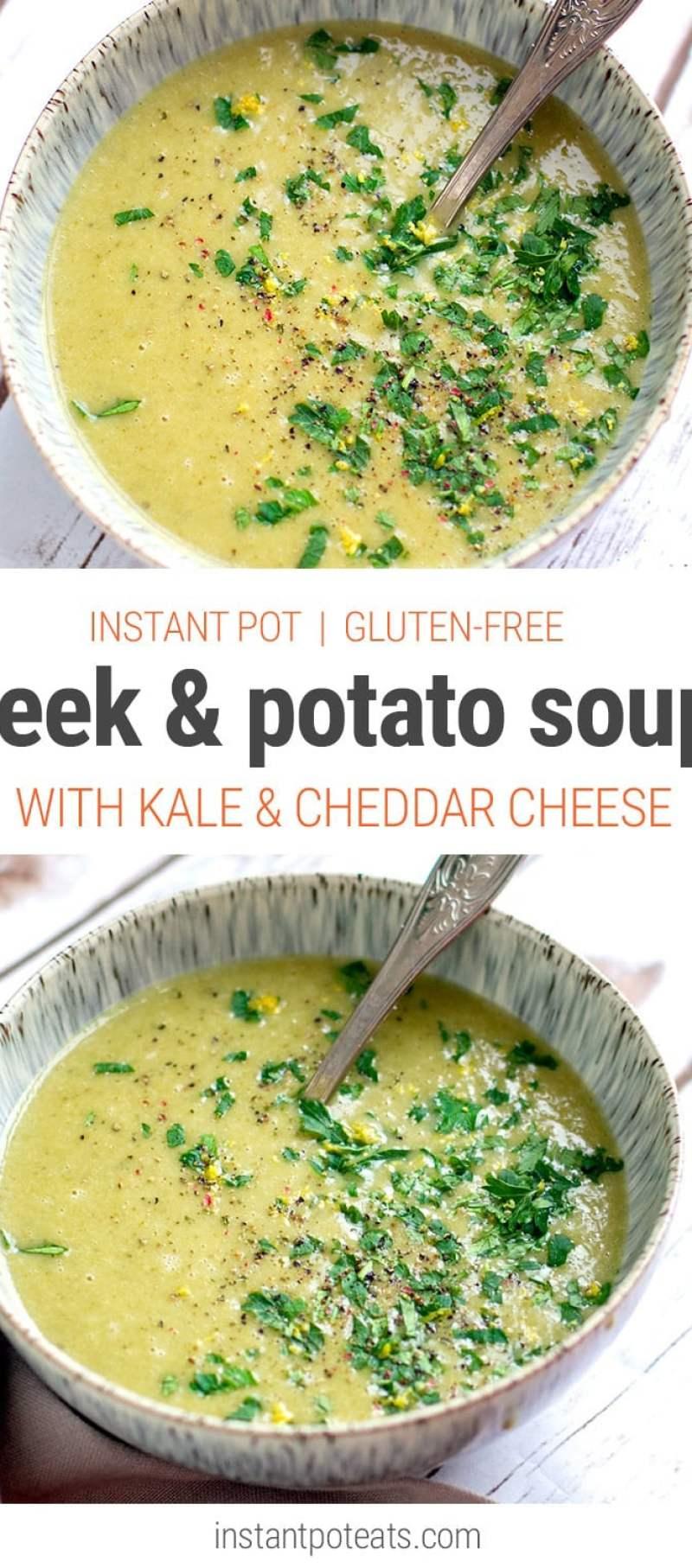 Leek, Kale & Potato Soup (Instant Pot, Gluten-Free Recipe)