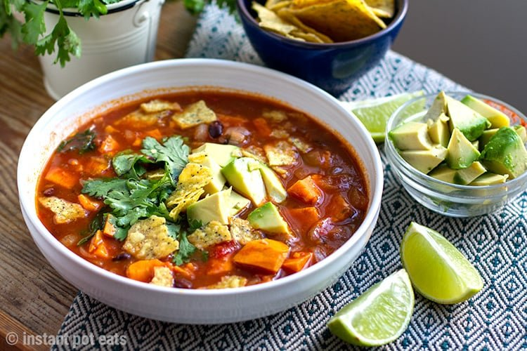 Instant Pot Sweet Potato Tortilla Soup (Vegan, Vegetarian